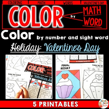 Valentine's Day Activity - Color by ADDITION - SUBTRACTION and WORD