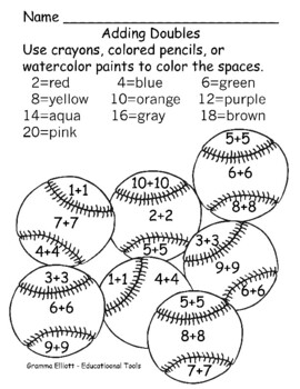 Color by Number - Addition Facts - No Prep 11 student pages with Answer Keys