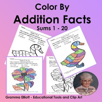 Color by Addition Facts No Prep 11 student pages with Answer Keys