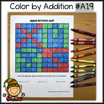 Color by Addition - Hidden Picture - Ice Skate