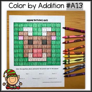 Color by Addition - Hidden Picture - Reindeer