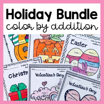 Color by Addition Holiday BUNDLE (Christmas, Easter, Halloween & Valentine's)!
