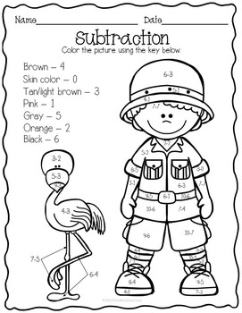 Color by Addition & Subtraction Color Pages K-1 set of 32!