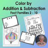 Color by Addition and Subtraction Fact Families sums 2-10 and Task Cards