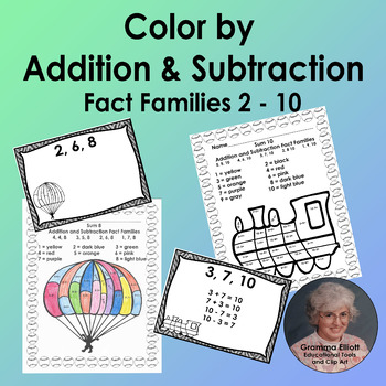Color by Addition and Subtraction Fact Families sums 2-10