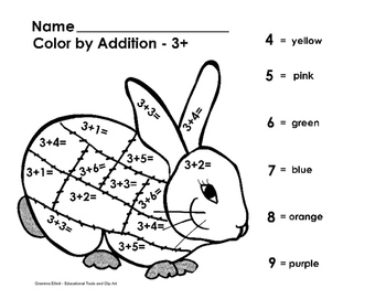Color by Addition and Subtraction No Prep 3 page Sampler K-1