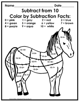 Color by Addition and Subtraction No Prep Sampler K-1