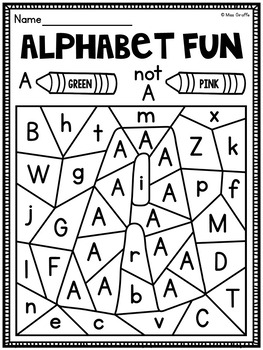 Miss alphabet coloring pages ~ Color by Alphabet Letter Worksheets Pack by Miss Giraffe | TpT