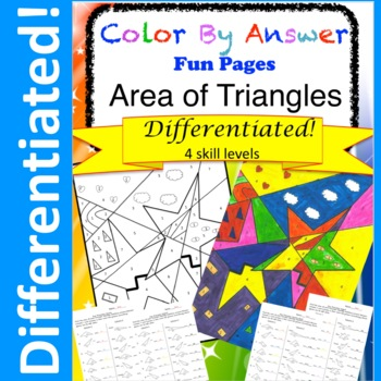 Color by Answer Area of Triangles Differentiated!