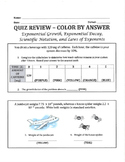 Color by Answer - Exponents (growth, decay, and properties) and Scientific Not.