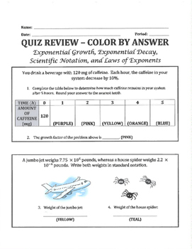 Color by Answer - Exponents (growth, decay, and properties