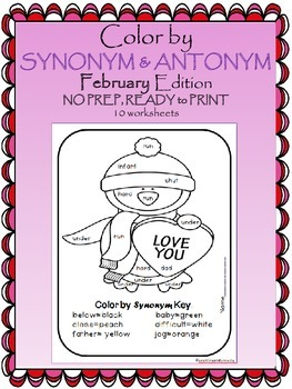 Color by Antonym & Synonym (February Edition) Valentine's Day
