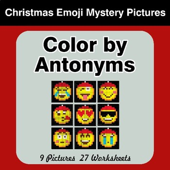Color by Antonym Worksheets - Christmas Emoji Mystery Pictures