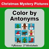 Color by Antonym Worksheets - Christmas Mystery Pictures