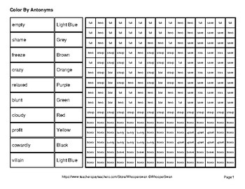 Color by Antonym Worksheets - City Mystery Pictures