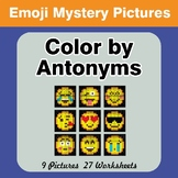 Color by Antonym Worksheets - Emoji Mystery Pictures