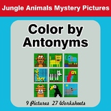 Color by Antonym Worksheets - Jungle Animals Mystery Pictures