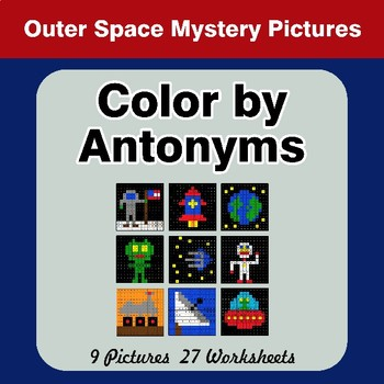Color by Antonym Worksheets - Outer Space Mystery Pictures