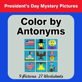 Color by Antonym Worksheets - President's Day Mystery Pictures