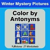 Color by Antonym Worksheets - Winter Mystery Pictures