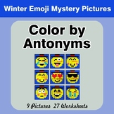 Color by Antonym Worksheets - Winter Snowman Emoji Mystery Pictures