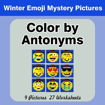 Color By Antonym Worksheets Winter Snowman Emoji Mystery Pictures