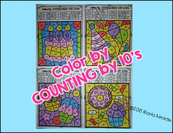 Color by COUNTING BY 10'S  {100th DAY}