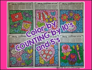 Color by COUNTING BY 10'S and 5's {VALENTINE'S DAY}