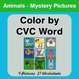 Color by CVC Word - Animals Mystery Pictures