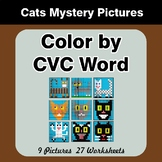 Color by CVC Word - Cats Mystery Pictures