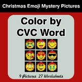 Color by CVC Word - Christmas Emoji Mystery Pictures