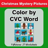 Color by CVC Word - Christmas Mystery Pictures