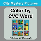 Color by CVC Word - City Mystery Pictures