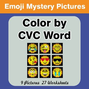 Color by CVC Word - Emoji Mystery Pictures