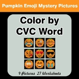 Color by CVC Word - Halloween Pumpkin Emoji Mystery Pictures