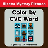 Color by CVC Word - Hipsters Mystery Pictures