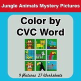 Color by CVC Word - Jungle Animals Mystery Pictures