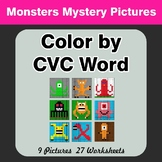 Color by CVC Word - Monsters Mystery Pictures