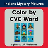 Color by CVC Word - Native American Indians Mystery Pictures