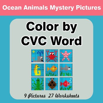 Color by CVC Word - Ocean Animals Mystery Pictures