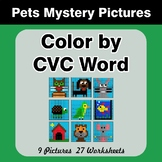 Color by CVC Word - Pets Mystery Pictures