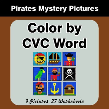 Color by CVC Word - Pirates Mystery Pictures