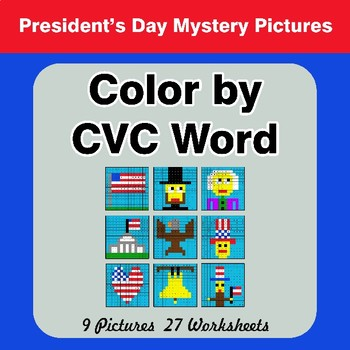 Color by CVC Word - President's Day Mystery Pictures