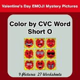 Color by CVC Word | Short o - Valentine's Day Emoji Mystery Pictures
