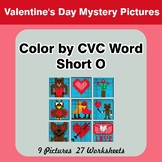 Color by CVC Word | Short o - Valentine's Day Mystery Pictures