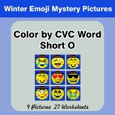 Color by CVC Word | Short o - Winter Snowman Emoji Mystery Pictures