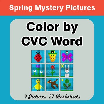 Color by CVC Word - Spring Mystery Pictures