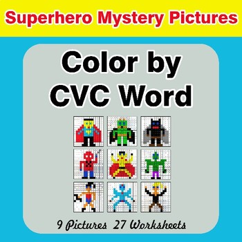 Color by CVC Word - Superhero Mystery Pictures
