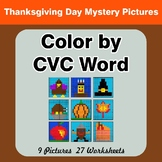 Color by CVC Word - Thanksgiving Mystery Pictures
