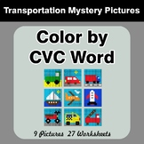 Color by CVC Word - Transportation Mystery Pictures